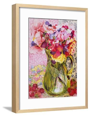Sweet Peas with Cherries and Strawberries-Joan Thewsey-Framed Art Print