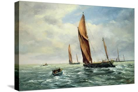 Sailing Barges Racing on the Medway-Vic Trevett-Stretched Canvas Print