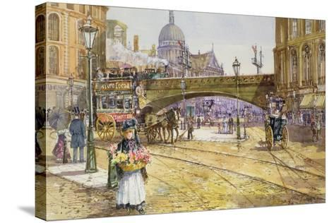 A Flower Girl in Blackfriars-John Sutton-Stretched Canvas Print