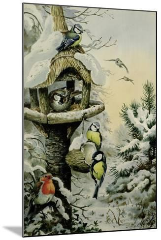 Winter Bird Table with Blue Tits, Great Tits, House Sparrows and a Robin-Carl Donner-Mounted Giclee Print