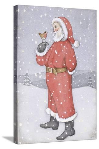 Father Christmas and a Robin-Lavinia Hamer-Stretched Canvas Print