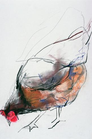 Feeding Hen, Trasierra, 1998-Mark Adlington-Stretched Canvas Print