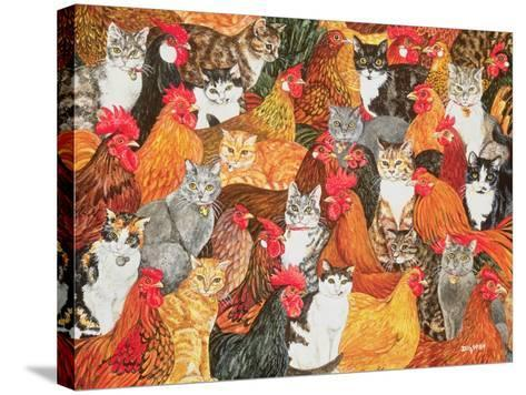 Chicken-Cats-Ditz-Stretched Canvas Print