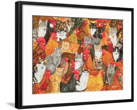 Chicken-Cats-Ditz-Framed Art Print