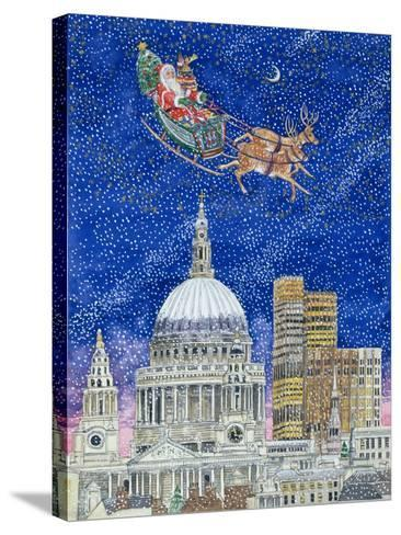 Father Christmas Flying over London-Catherine Bradbury-Stretched Canvas Print