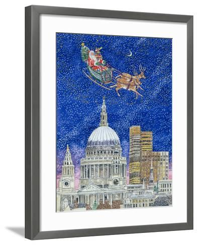 Father Christmas Flying over London-Catherine Bradbury-Framed Art Print