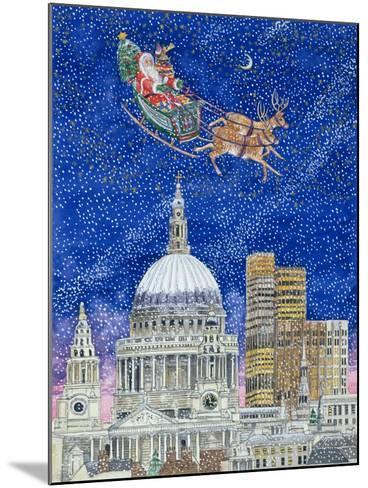 Father Christmas Flying over London-Catherine Bradbury-Mounted Giclee Print