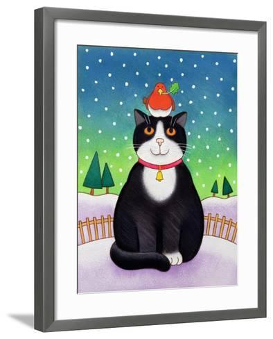 Cat with Robin-Cathy Baxter-Framed Art Print