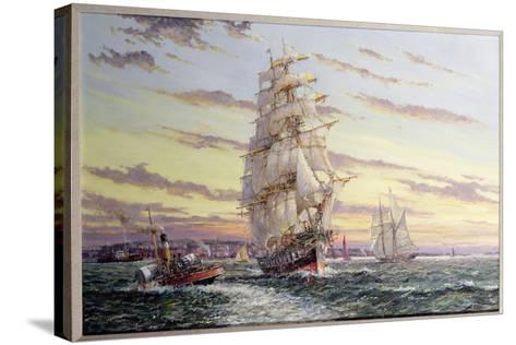 """""""The Windsor Park"""" Leaving the Thames-John Sutton-Stretched Canvas Print"""