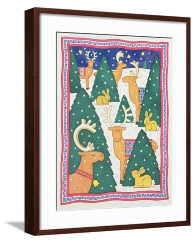 Reindeers around the Christmas Trees-Cathy Baxter-Framed Art Print