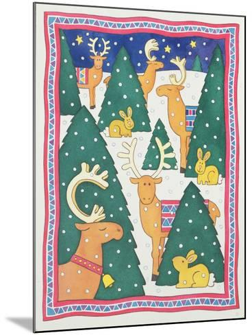 Reindeers around the Christmas Trees-Cathy Baxter-Mounted Giclee Print