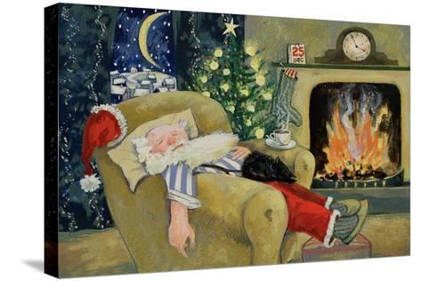 Santa Sleeping by the Fire, 1995-David Cooke-Stretched Canvas Print