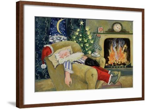 Santa Sleeping by the Fire, 1995-David Cooke-Framed Art Print