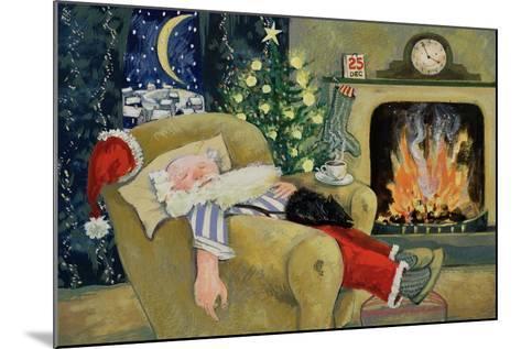 Santa Sleeping by the Fire, 1995-David Cooke-Mounted Giclee Print