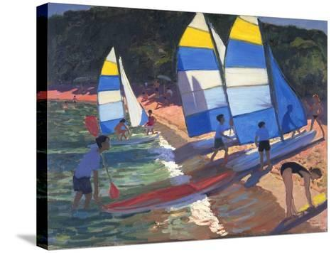 Sailboats, South of France, 1995-Andrew Macara-Stretched Canvas Print