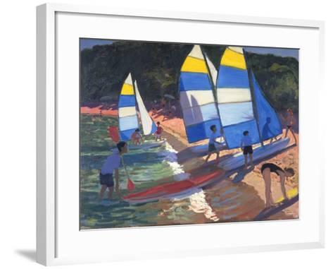 Sailboats, South of France, 1995-Andrew Macara-Framed Art Print