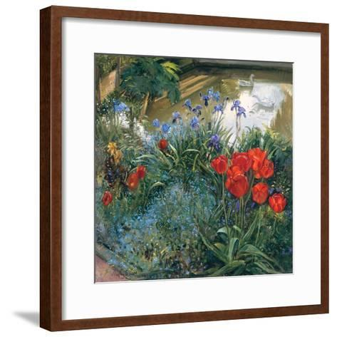 Red Tulips and Geese-Timothy Easton-Framed Art Print