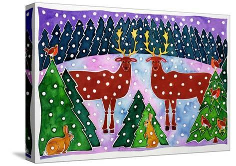 Reindeer and Rabbits-Cathy Baxter-Stretched Canvas Print
