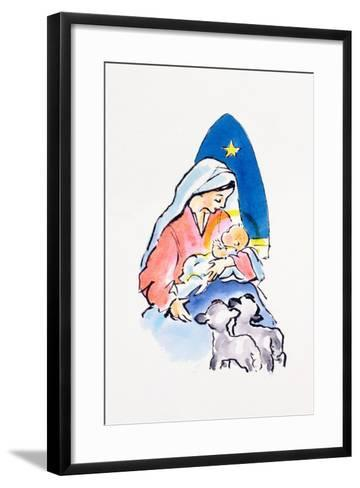 Madonna and Child with Lambs, 1996-Diane Matthes-Framed Art Print