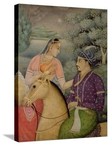 A Couple on Horseback Beside a Moonlit Lake-Mark Briscoe-Stretched Canvas Print