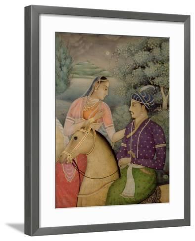A Couple on Horseback Beside a Moonlit Lake-Mark Briscoe-Framed Art Print