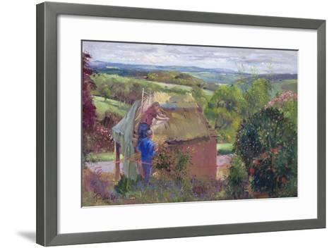 Thatching the Summer House, Lanhydrock House, Cornwall, 1993-Timothy Easton-Framed Art Print