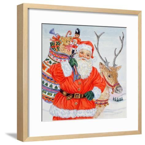 Father Christmas and His Reindeer-Catherine Bradbury-Framed Art Print