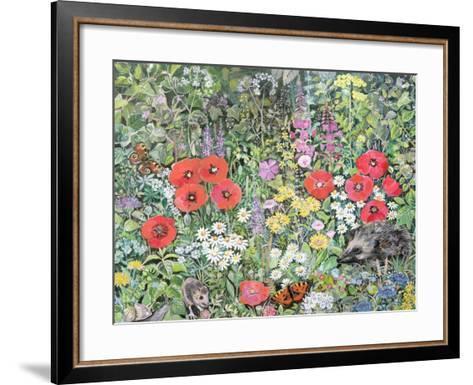 Hedgehog Amongst the Flowers-Hilary Jones-Framed Art Print
