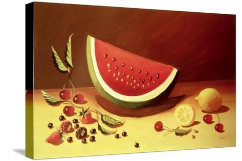 Watermelon-Dory Coffee-Stretched Canvas Print