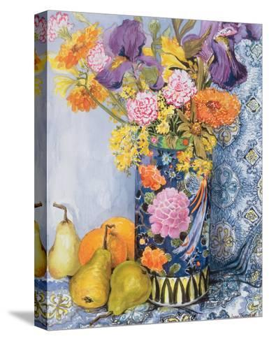 Iris and Pinks in a Japanese Vase with Pears-Joan Thewsey-Stretched Canvas Print