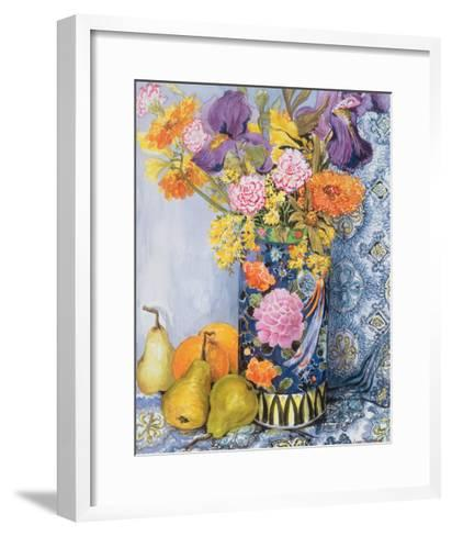 Iris and Pinks in a Japanese Vase with Pears-Joan Thewsey-Framed Art Print