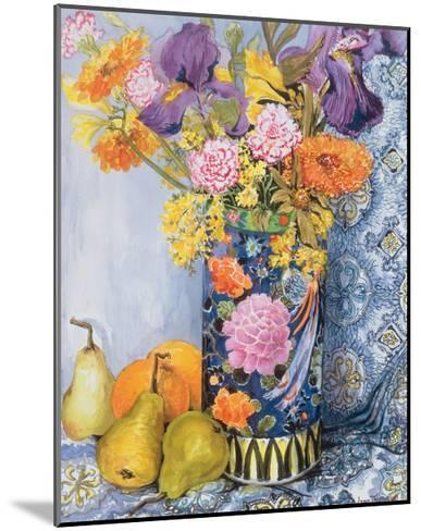 Iris and Pinks in a Japanese Vase with Pears-Joan Thewsey-Mounted Giclee Print