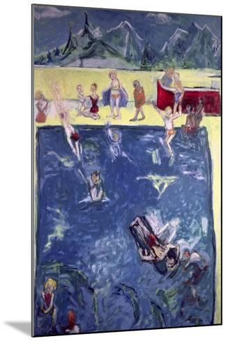 Swimmers in Wengen-Julie Held-Mounted Giclee Print