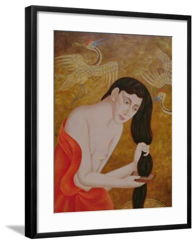 Woman Combing Her Hair, 1999-Patricia O'Brien-Framed Art Print