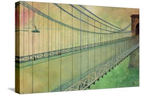 Hammersmith Bridge after the Boat Race-George Adamson-Stretched Canvas Print