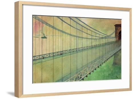 Hammersmith Bridge after the Boat Race-George Adamson-Framed Art Print