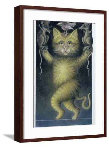 Cat on a Tightrope, Balancing with Bird and Mice-Wayne Anderson-Framed Art Print