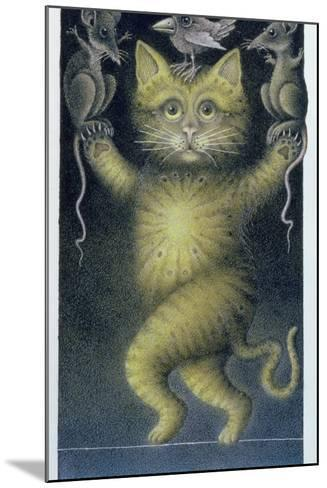 Cat on a Tightrope, Balancing with Bird and Mice-Wayne Anderson-Mounted Giclee Print