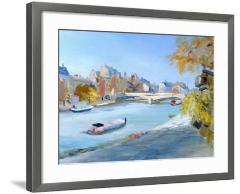 Barge Sailing Down the River Seine in Paris-Anne Durham-Framed Art Print