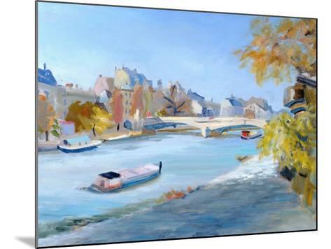 Barge Sailing Down the River Seine in Paris-Anne Durham-Mounted Giclee Print