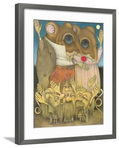 Mouse Couple and Dwarves Waving-Wayne Anderson-Framed Art Print
