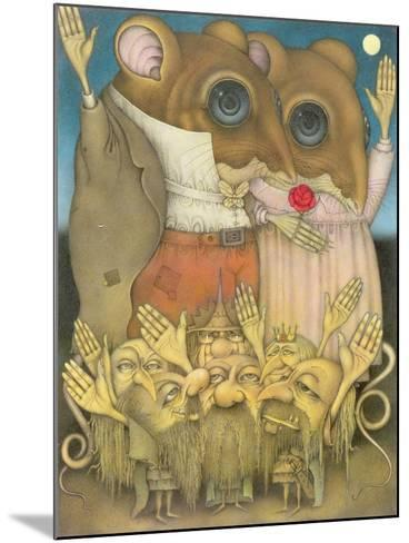 Mouse Couple and Dwarves Waving-Wayne Anderson-Mounted Giclee Print