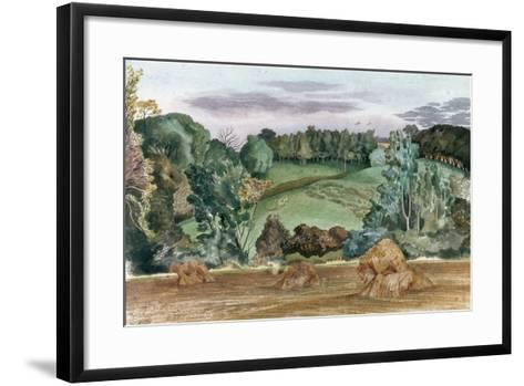 An Evening Landscape with Corn Stooks-John Northcote Nash-Framed Art Print