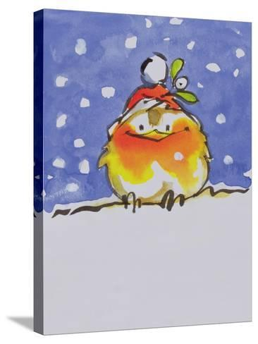 Christmas Robin-Diane Matthes-Stretched Canvas Print