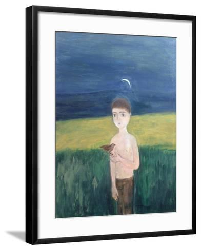 Boy with Bird, 2002-Roya Salari-Framed Art Print