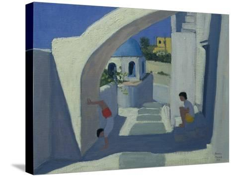 Handstand, Santorini-Andrew Macara-Stretched Canvas Print