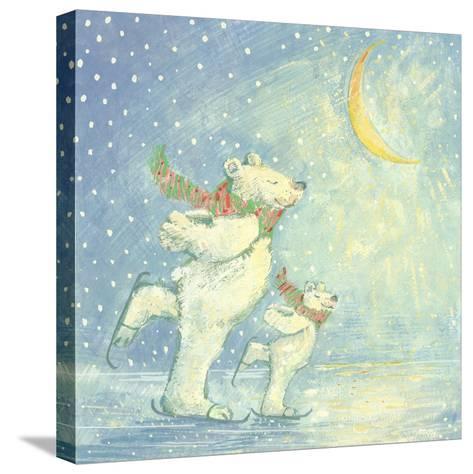 Skating Polar Bears-David Cooke-Stretched Canvas Print