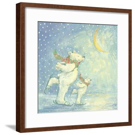 Skating Polar Bears-David Cooke-Framed Art Print