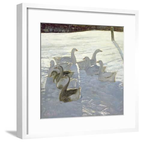 Geese Against the Light-Timothy Easton-Framed Art Print