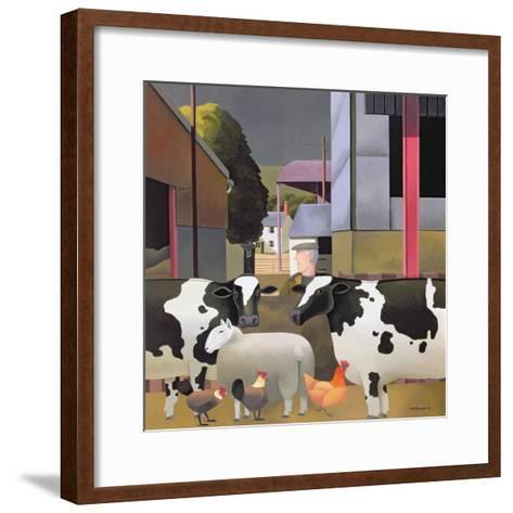 Farmer with Cows, 1992-Reg Cartwright-Framed Art Print